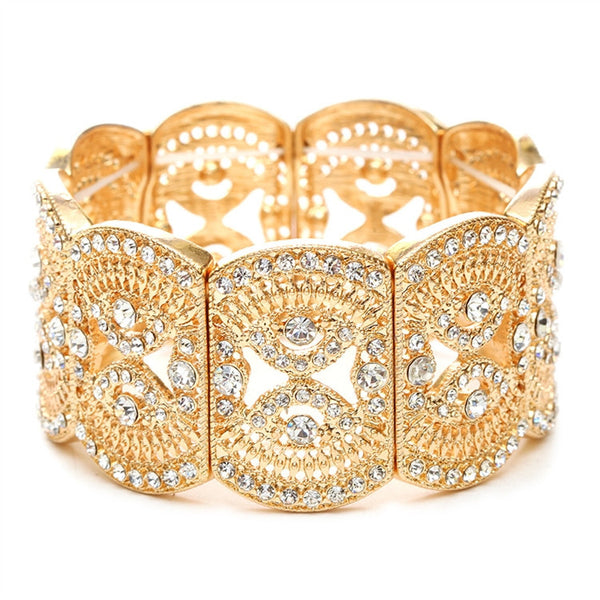 Gold Art Deco Filigree Crystal Stretch Bracelet-Bracelets-Here Comes The Bling™