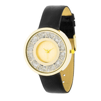Gold Black Leather Watch With Crystals-Watches-Here Comes The Bling