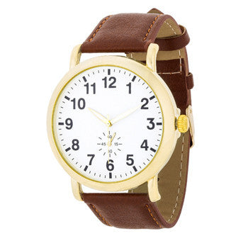 Gold Classic Watch With Brown Leather Strap-Watches-Here Comes The Bling