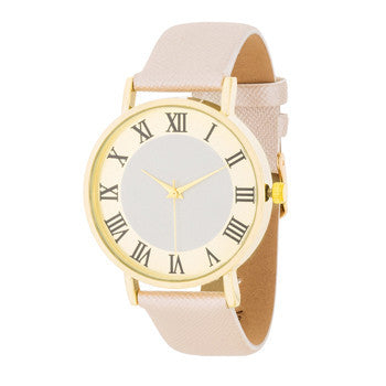 Gold Classic Watch With Champagne Leather Strap-Watches-Here Comes The Bling