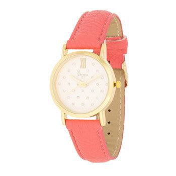 Gold Coral Leather Watch-Watches-Here Comes The Bling