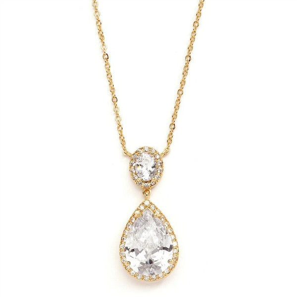 Gold Couture Cubic Zirconia Pear-Shaped Bridal Necklace-Necklaces-Here Comes The Bling™