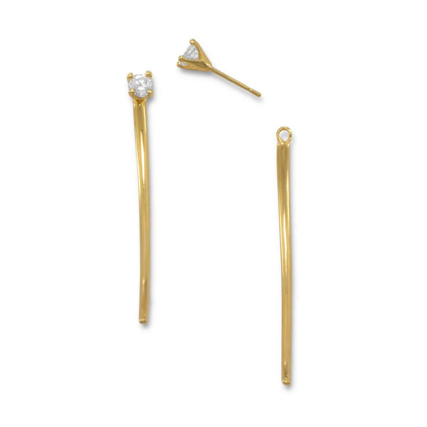 Gold Curved Bar Front Back Earrings with CZ-Earrings-Here Comes The Bling™