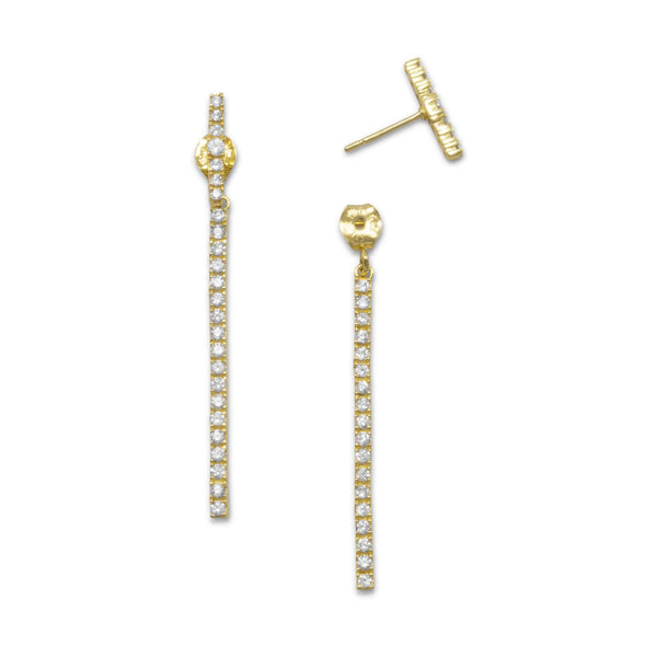 Gold CZ Bar Front Back Drop Earrings-Earrings-Here Comes The Bling™
