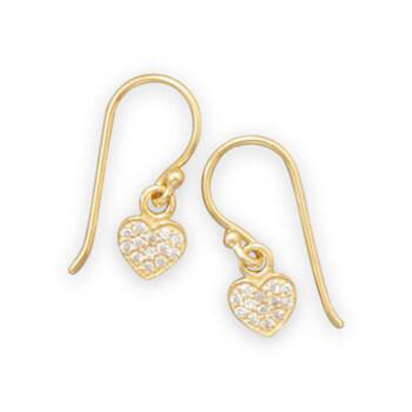 Gold CZ Dangle Heart Earrings-Earrings-Here Comes The Bling™