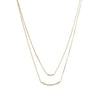Gold Double Strand Curved CZ Bar Necklace-Necklaces-Here Comes The Bling™