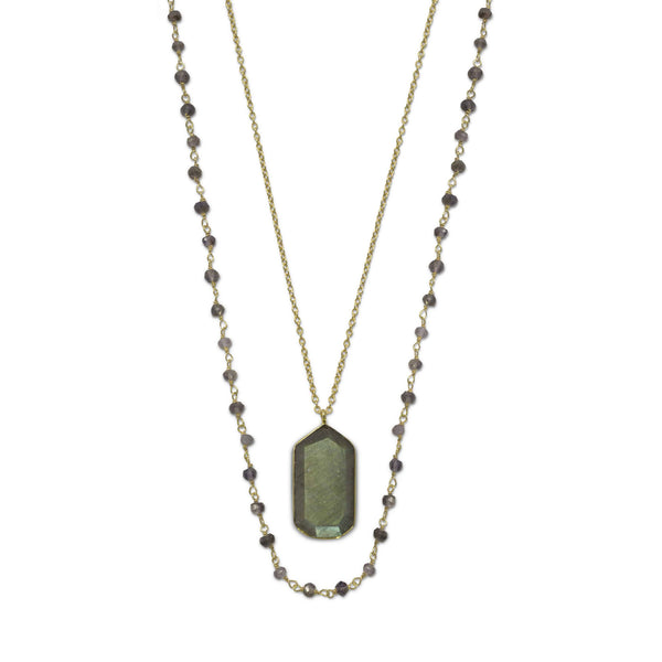 Gold Double Strand Necklace with Iolite and Labradorite-Necklaces-Here Comes The Bling™