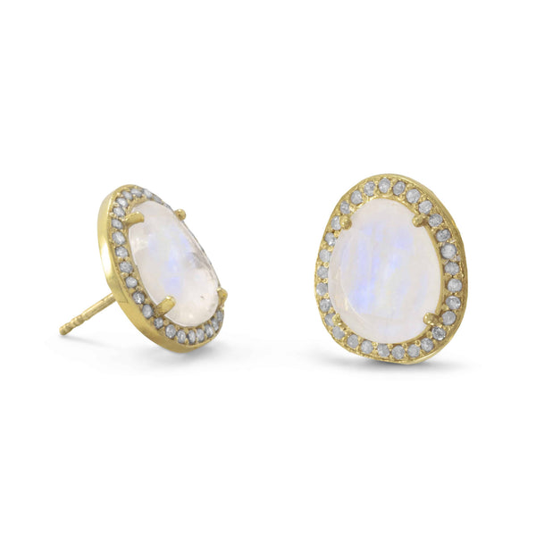 Gold Earrings with Rainbow Moonstone and Gray Diamonds-Earrings-Here Comes The Bling™