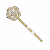 Gold Fashion Bobby Pin with Swarovski Crystal Flower-Hair Pins-Here Comes The Bling™