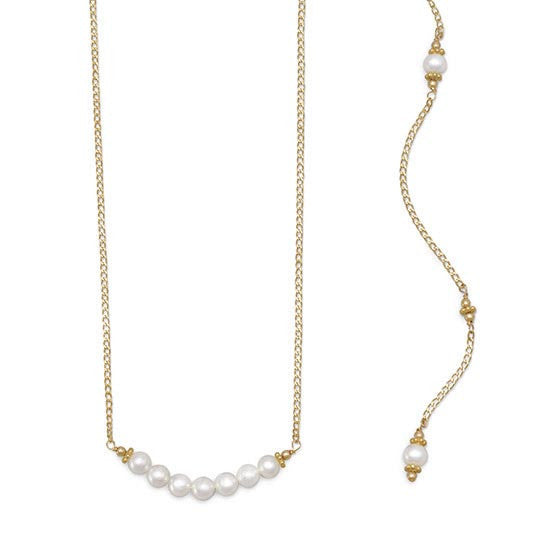 Gold Filled Cultured Freshwater Pearl Back Drop Necklace-Back Necklace-Here Comes The Bling™