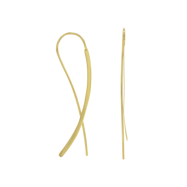 Gold Flat Long Wire Earrings-Earrings-Here Comes The Bling™
