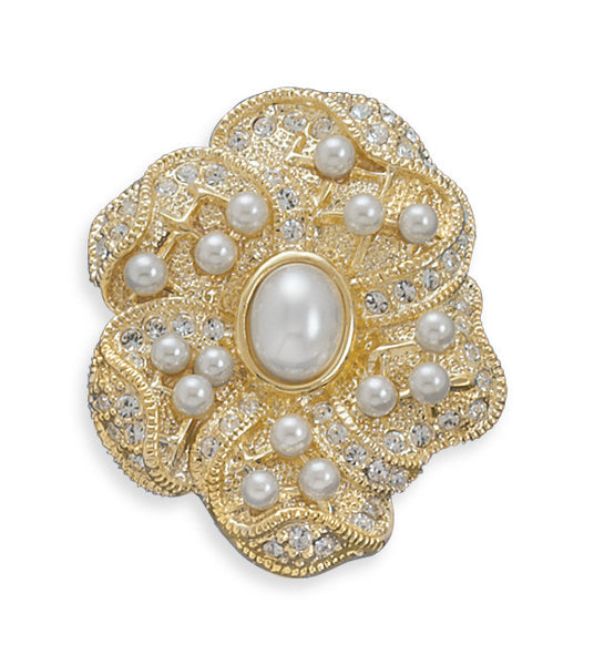 Gold Floral Design Fashion Pin-Brooches-Here Comes The Bling™