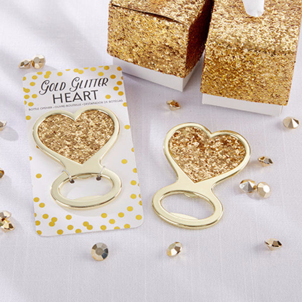 Gold Glitter Heart Bottle Opener (Pack of 6)-Favors-Bottle Opener-Here Comes The Bling™