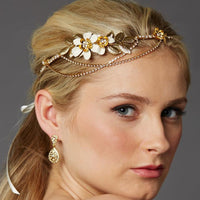 Gold Hand-Enameled Floral Halo Headband with Preciosa Crystal Drapes-Headband-Here Comes The Bling™
