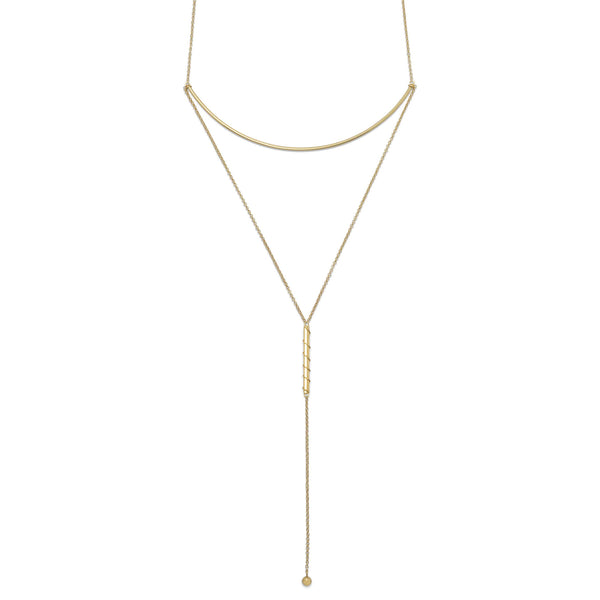 Gold Long Bar Drop Necklace-Necklaces-Here Comes The Bling™