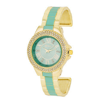 Gold Metal Cuff Watch With Crystals in Mint-Watches-Here Comes The Bling