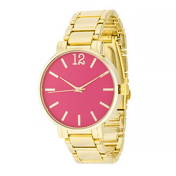 Gold Metal Watch in Pink-Watches-Here Comes The Bling