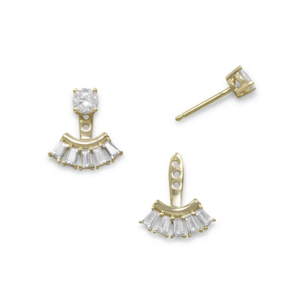 Gold Multishape CZ Front Back Earrings-Earrings-Here Comes The Bling™