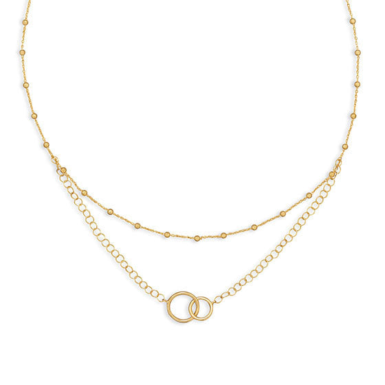 Gold Multistrand Beaded Necklace with Circle Link-Necklaces-Here Comes The Bling™