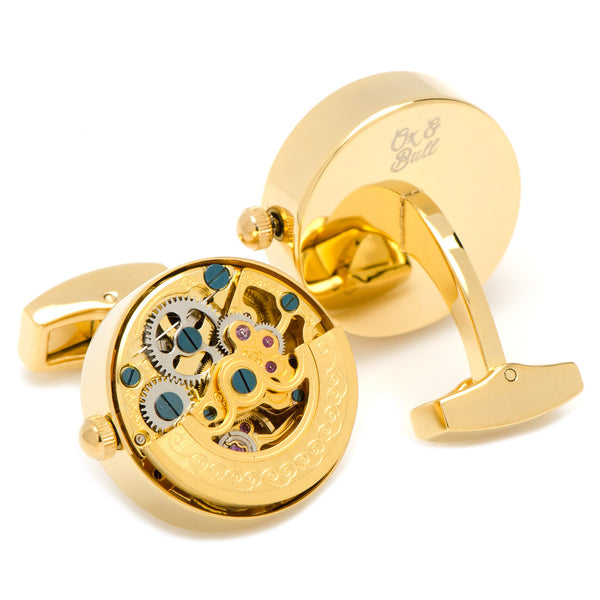 Gold on Gold Kinetic Watch Movement Cufflinks-Cufflinks-Here Comes The Bling™