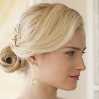 Gold Pear-Shaped Halo CZ Bridal Earrings-Earrings-Here Comes The Bling™