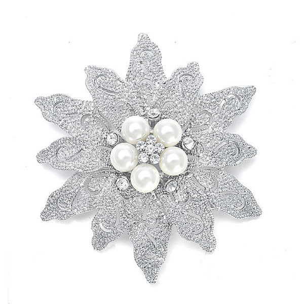 Gold Pearl Etched Flower Brooch-Brooches-Here Comes The Bling™