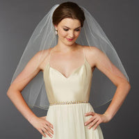 Gold Pencil Edge Classic Waist or Elbow Single Layer Wedding Veil-Veils-Here Comes The Bling™