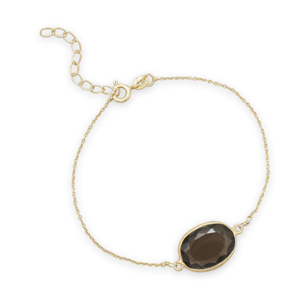 Gold Plated Smoky Quartz Bar Bracelet-Bracelets-Here Comes The Bling™