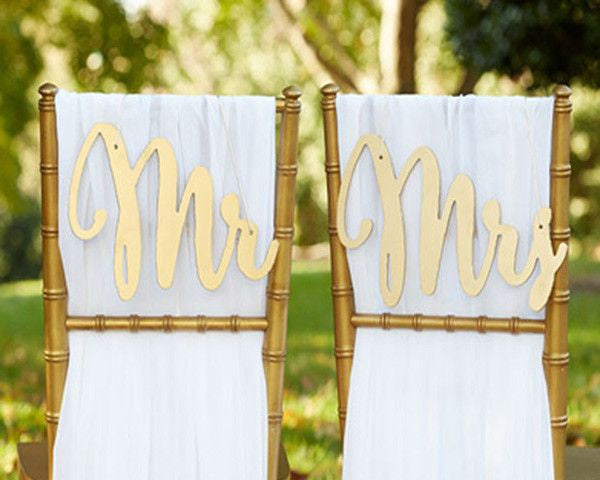 """Gold Promises"" Classic Mr. and Mrs. Chair Backers-Decor-Chairs-Here Comes The Bling™"