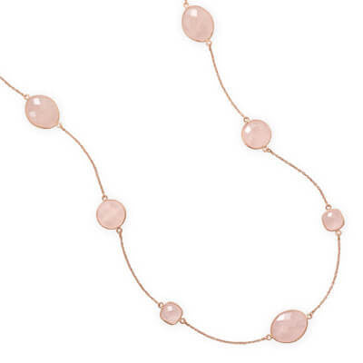Gold Rose Quartz Necklace-Necklaces-Here Comes The Bling™