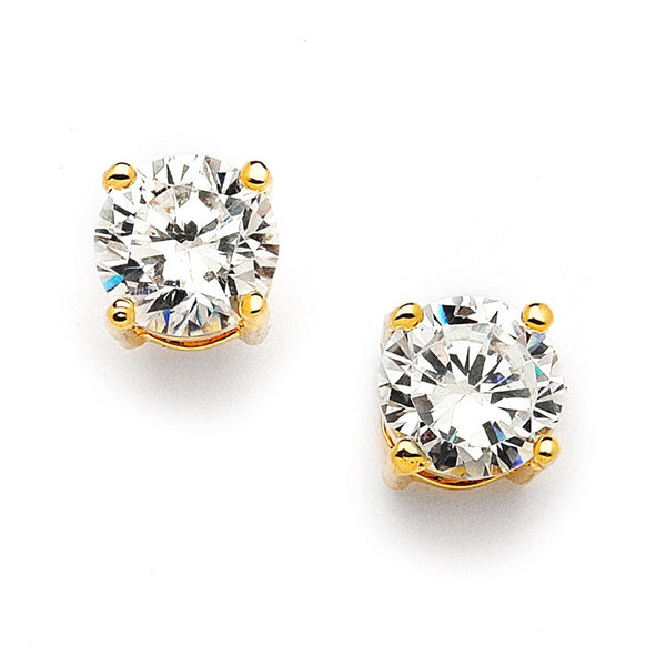 Gold Round Cubic Zirconia Stud Earrings-Earrings-Here Comes The Bling™