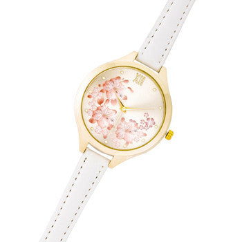 Gold Skinny White Leather Floral Watch-Watches-Here Comes The Bling