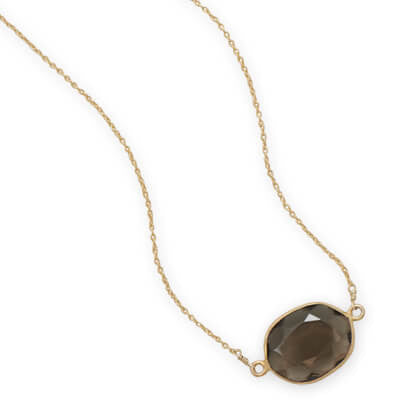 Gold Smoky Quartz Necklace-Necklaces-Here Comes The Bling™