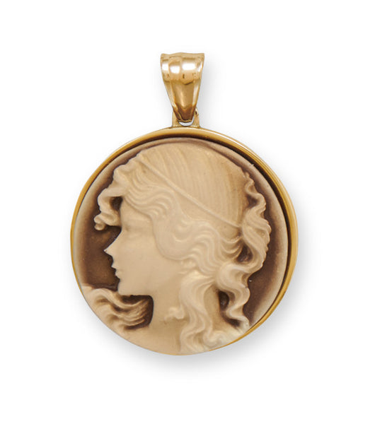 Gold Stainless Steel Cameo Pendant-Pendants & Charms-Here Comes The Bling™