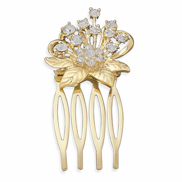 Gold Swarovski Crystal Flower Vintage Inspired Hair Comb-Combs-Here Comes The Bling™