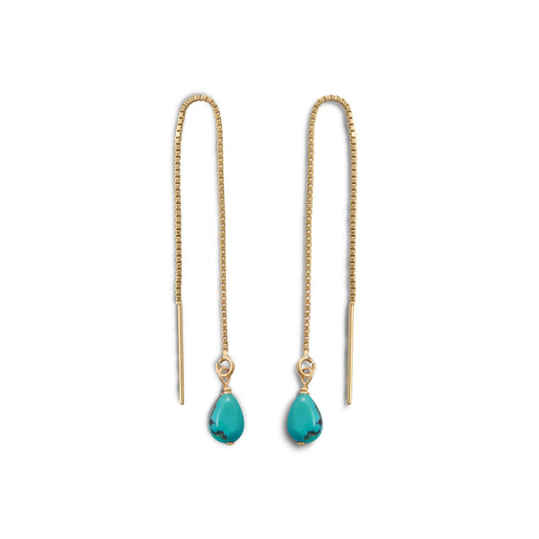 Gold Threader Earrings with Turquoise Bead-Earrings-Here Comes The Bling™
