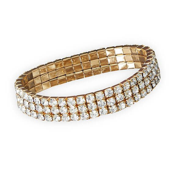 Gold Tone Crystal Fashion Stretch Bracelet-Bracelets-Here Comes The Bling™