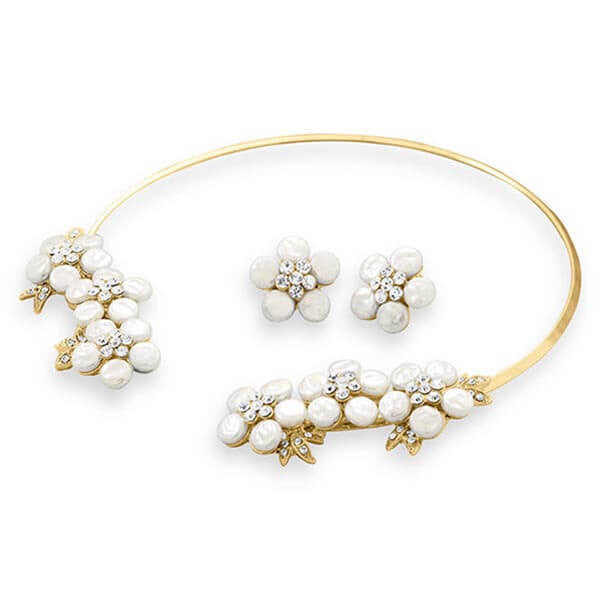 Gold Tone Simulated Pearl and Crystal Floral Fashion Collar and Earring Set-Sets-Here Comes The Bling™