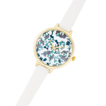 Gold Watch With Blue Floral Print Dial-Watches-Here Comes The Bling