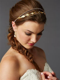 Golden Hand-Made Garland of Leaves Split Bridal Headband-Headband-Here Comes The Bling™