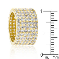 Goldtone Finishd Wide Pave Cubic Zirconia Ring-Rings-Here Comes The Bling™