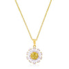 Goldtone Purple and Yellow Cubic Zirconia Floral Pendant-Necklaces-Here Comes The Bling