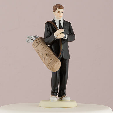 """Golfing Groom"" Caucasian Wedding Cake Topper ( Select From 7 Hair Colors )-Cake Toppers-Here Comes The Bling™"