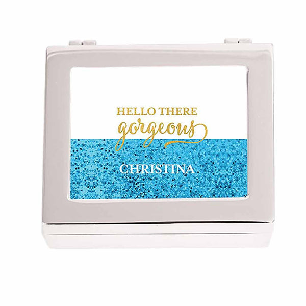 """Gorgeous"" Blue Glitter Personalized Jewelry Box (Available in 3 Colors)-Jewelry Box-Here Comes The Bling™"