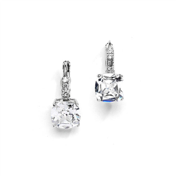 Gorgeous Cushion Cut CZ Drop Wedding Earrings-Earrings-Here Comes The Bling™