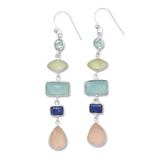 Gorgeous Multistone Long Drop Earrings-Earrings-Here Comes The Bling™