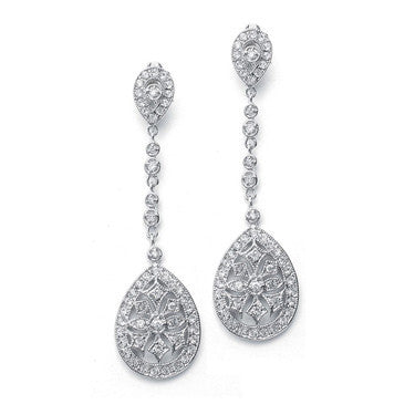 Graceful CZ Etched Dangle Earrings-Earrings-Here Comes The Bling™