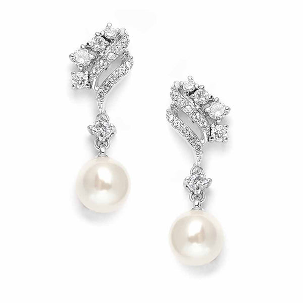 Graduated Pearl and Cubic Zirconia Waves Earrings-Earrings-Here Comes The Bling™