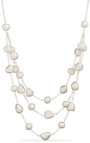 Graduated Shell and Cultured Freshwater Pearl Necklace-Necklaces-Here Comes The Bling™