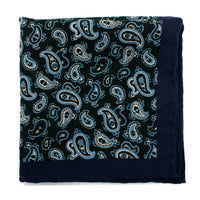 Green and Blue Paisley Wool Pocket Square-Pocket Square-Here Comes The Bling™